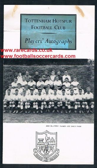 1959 Spurs Players' autographs season 1959-60